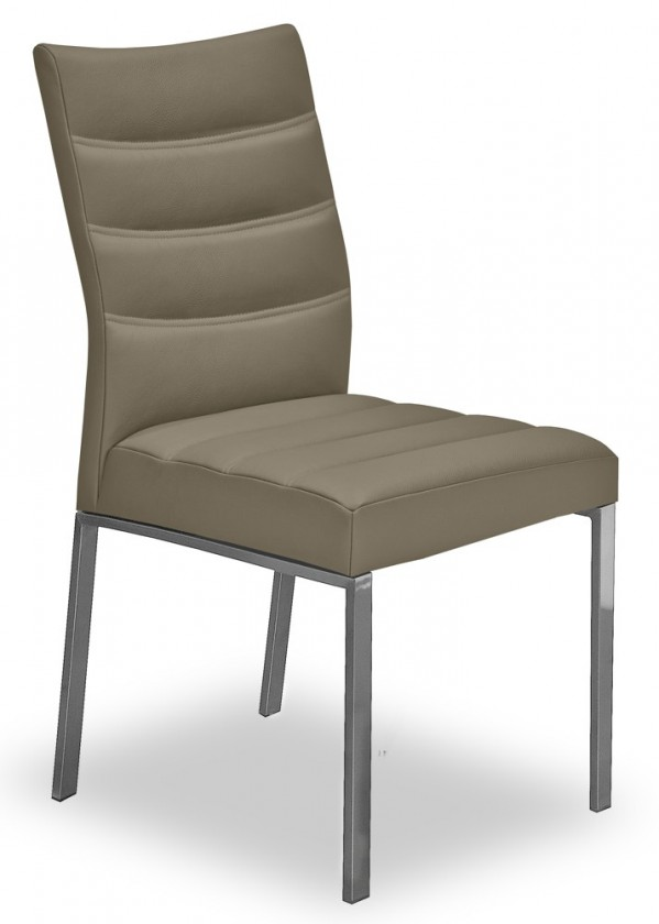 Jídelní židle Set - prošívaná (ocel nerez, eko kůže světle hnědá)