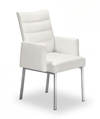 Jídelní židle Set - prošívaná, područky (ocel nerez, bílá)