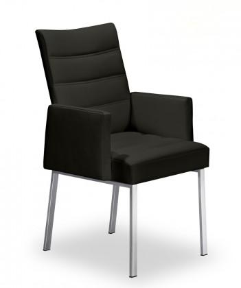 Jídelní židle Set - prošívaná, područky (ocel nerez, černá)