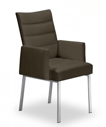 Jídelní židle Set - prošívaná, područky (ocel nerez, hnědá)