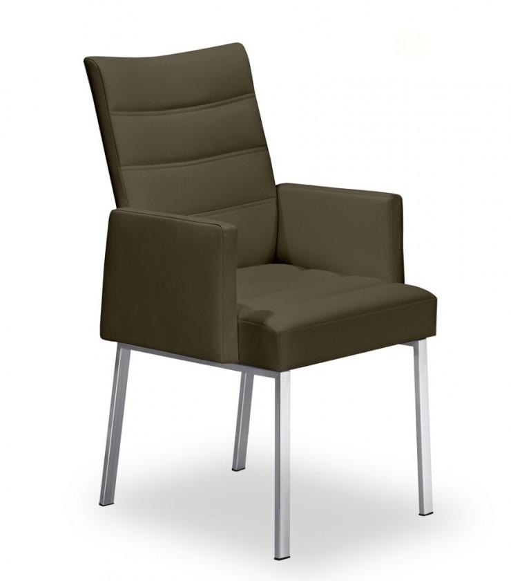Jídelní židle Set - prošívaná, područky (ocel nerez, sahara)