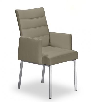 Jídelní židle Set - prošívaná, područky (ocel nerez, světle hnědá)