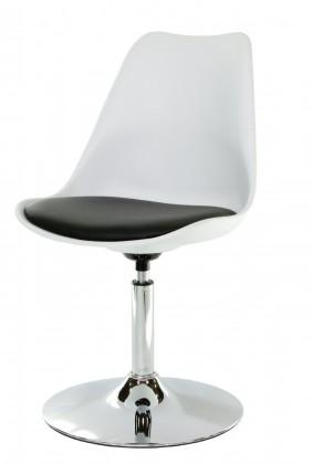 Jídelní židle Tequila - Jídelní židle (chrom, bílá, eko kůže černá)