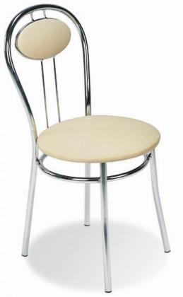 Jídelní židle Tiziano (krémová, chrom)