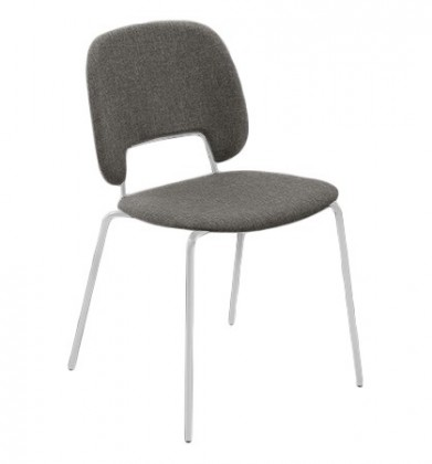 Jídelní židle Traffic - Jídelní židle (lak bílý matný, látka hnědá)