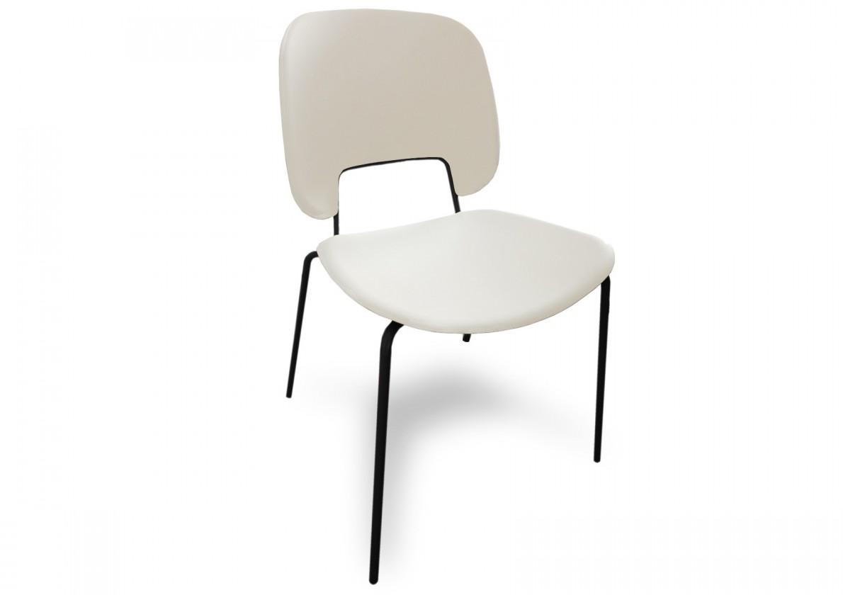 Jídelní židle Traffic - Jídelní židle (lak černý matný, eko kůže bílá)