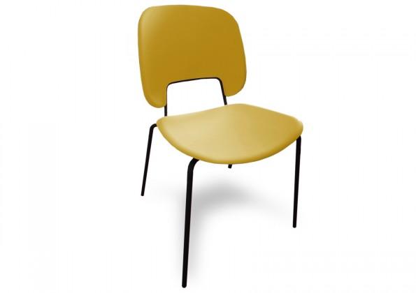 Jídelní židle Traffic - Jídelní židle (lak černý matný, plast hořčicový)