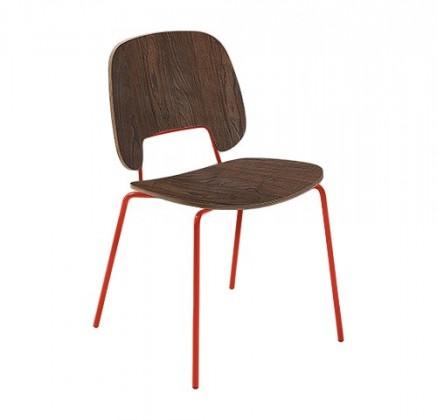 Jídelní židle Traffic - Jídelní židle (lak červený matný, čokoládový jasan)