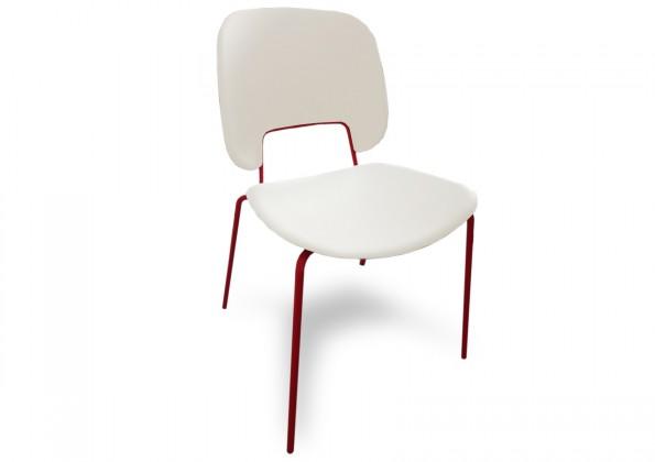 Jídelní židle Traffic - Jídelní židle (lak červený matný, eko kůže bílá)