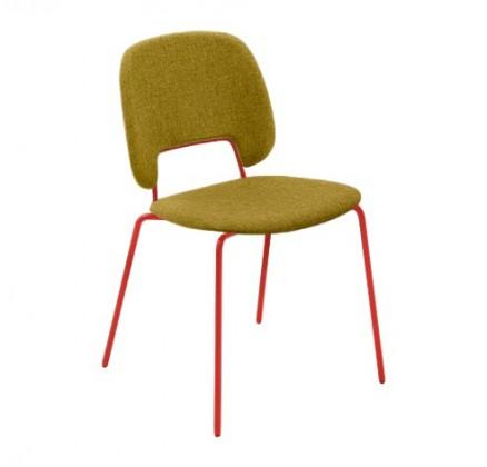 Jídelní židle Traffic - Jídelní židle (lak červený matný, látka hořčicová)