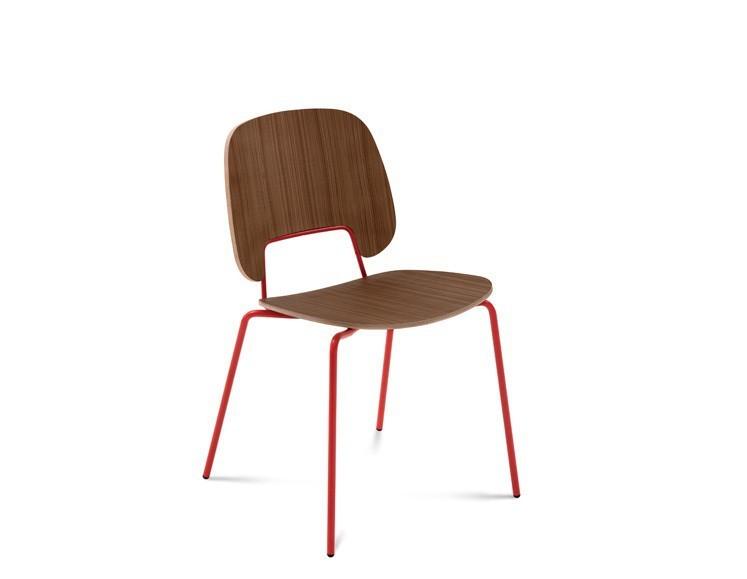 Jídelní židle Traffic - Jídelní židle (lak červený matný, ořech)