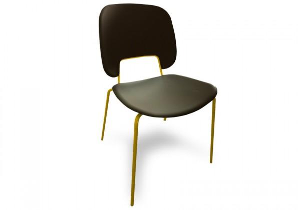 Jídelní židle Traffic - Jídelní židle (lak hořčicový, eko kůže černá)