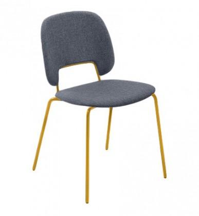 Jídelní židle Traffic - Jídelní židle (lak hořčicový, látka jeans)