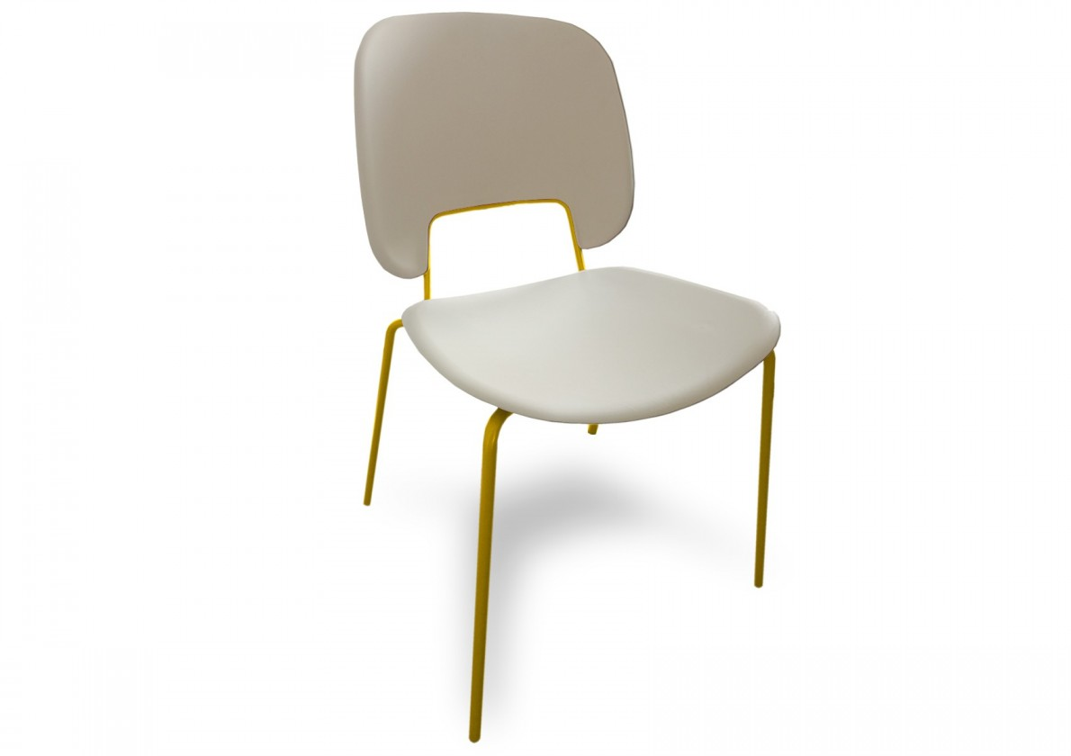 Jídelní židle Traffic - Jídelní židle (lak hořčicový, plast bílá)