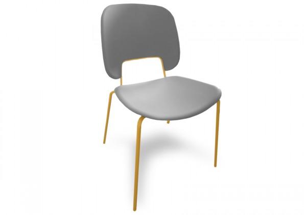 Jídelní židle Traffic - Jídelní židle (lak hořčicový, plast sv. šedá)