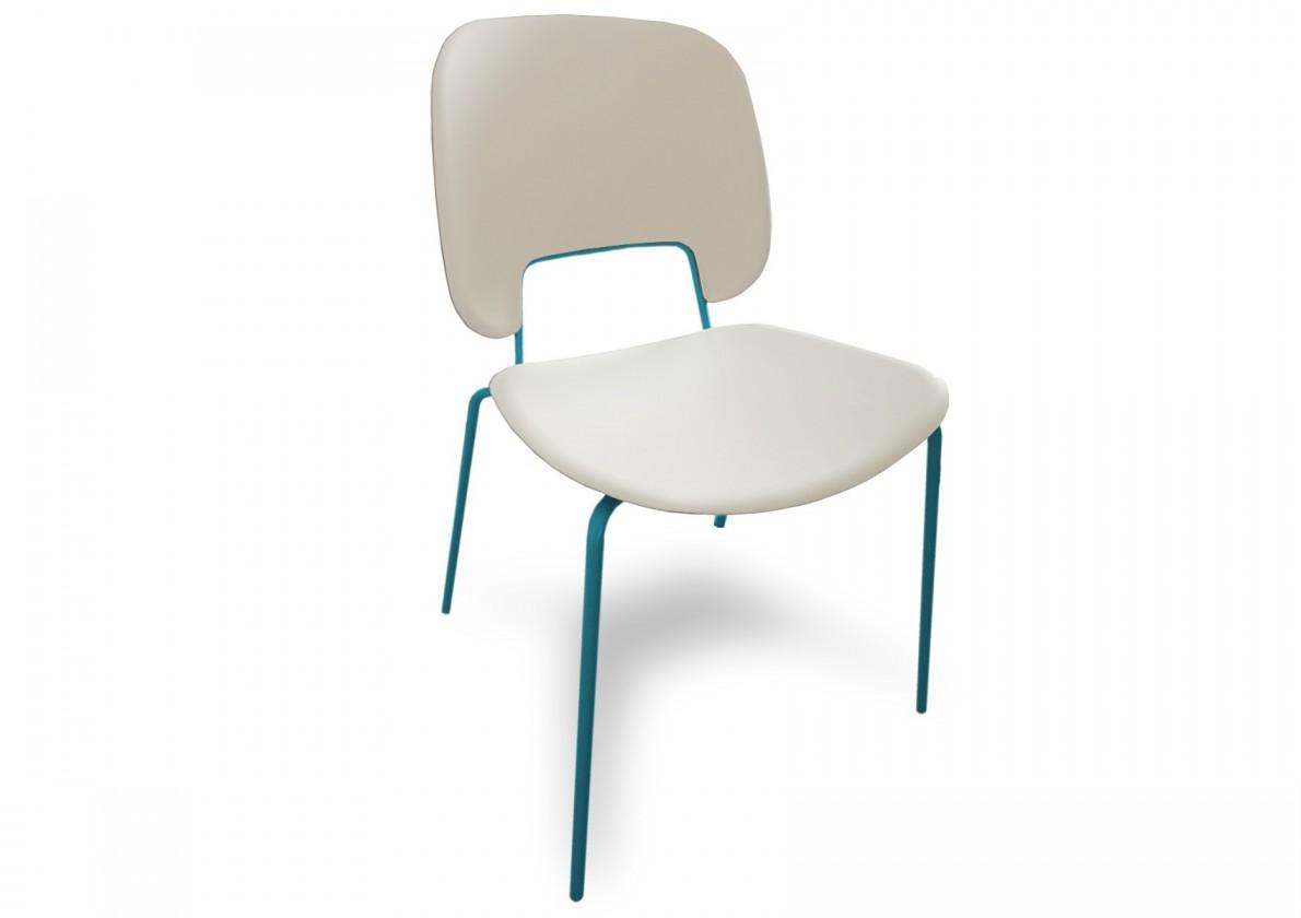 Jídelní židle Traffic - Jídelní židle (lak tyrkysový matný, eko kůže bílá)