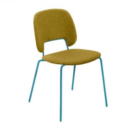 Jídelní židle Traffic - Jídelní židle (lak tyrkysový matný, látka hořčicová)