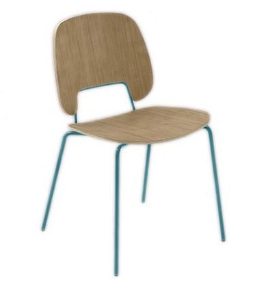Jídelní židle Traffic - Jídelní židle (lak tyrkysový matný, světlý dub)