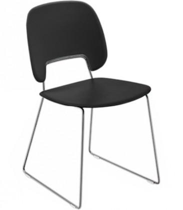 Jídelní židle Traffic-t - Jídelní židle (chromovaná ocel, eko kůže černá)