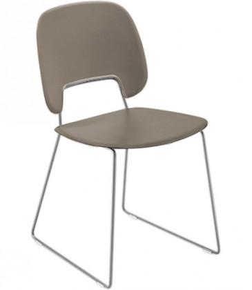 Jídelní židle Traffic-t - Jídelní židle (chromovaná ocel, eko kůže taupe)