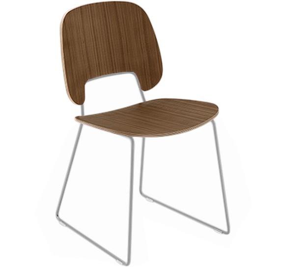 Jídelní židle Traffic-t - Jídelní židle (chromovaná ocel, ořech)