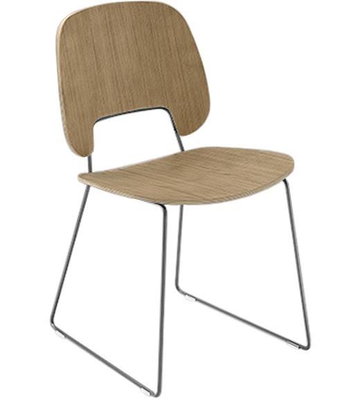 Jídelní židle Traffic-t - Jídelní židle (chromovaná ocel, světlý dub)