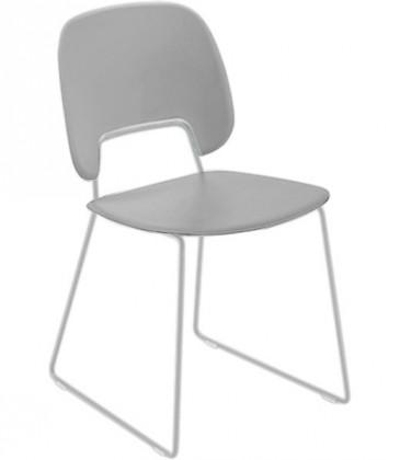 Jídelní židle Traffic-t - Jídelní židle (lak bílý mat, plast sv. šedá)
