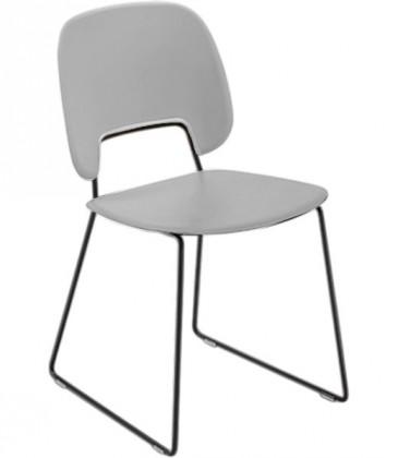 Jídelní židle Traffic-t - Jídelní židle (lak černý mat, eko kůže bílá)