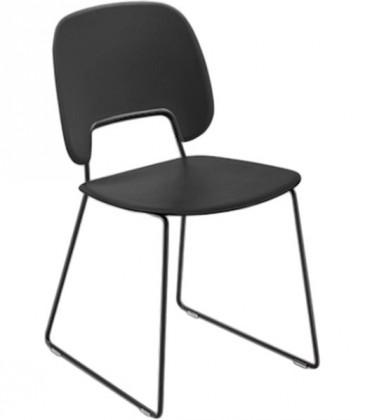 Jídelní židle Traffic-t - Jídelní židle (lak černý mat, eko kůže černá)