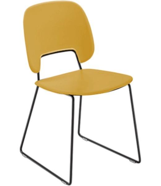 Jídelní židle Traffic-t - Jídelní židle (lak černý mat, plast hořčicový)