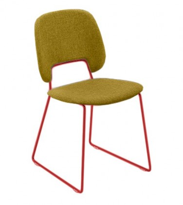 Jídelní židle Traffic-t - Jídelní židle (lak červený mat, látka hořčicová)