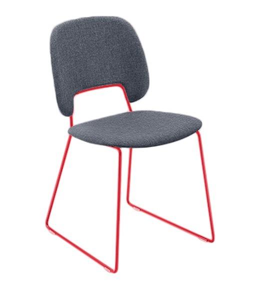 Jídelní židle Traffic-t - Jídelní židle (lak červený mat, látka jeans)