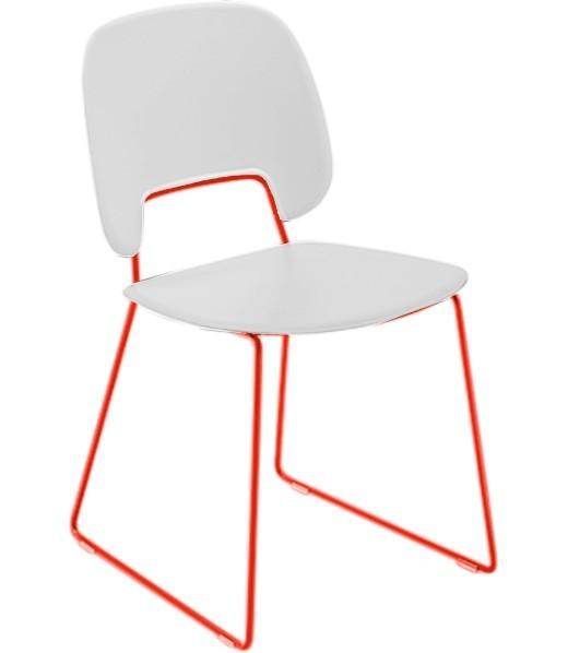 Jídelní židle Traffic-t - Jídelní židle (lak červený mat, plast bílá)