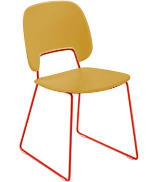 Jídelní židle Traffic-t - Jídelní židle (lak červený mat, plast hořčicový)
