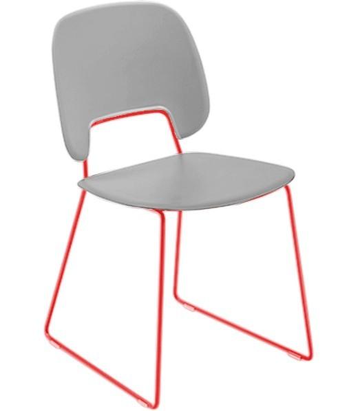Jídelní židle Traffic-t - Jídelní židle (lak červený mat, plast sv. šedá)