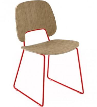 Jídelní židle Traffic-t - Jídelní židle (lak červený mat, světlý dub)