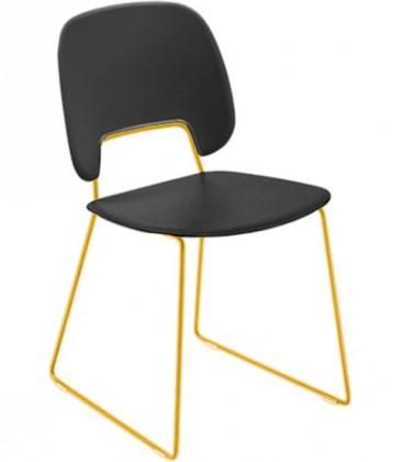 Jídelní židle Traffic-t - Jídelní židle (lak hořčicový, eko kůže černá)