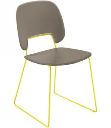 Jídelní židle Traffic-t - Jídelní židle (lak hořčicový, eko kůže taupe)