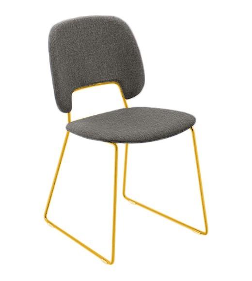 Jídelní židle Traffic-t - Jídelní židle (lak hořčicový, látka hnědá)