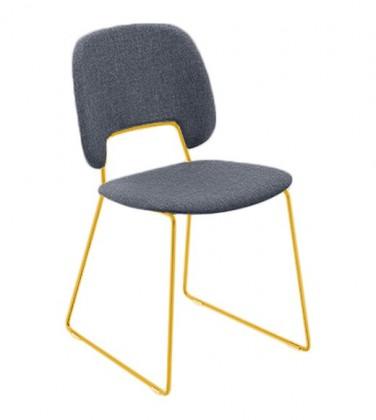 Jídelní židle Traffic-t - Jídelní židle (lak hořčicový, látka jeans)