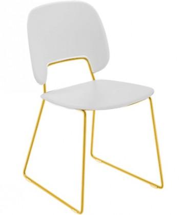 Jídelní židle Traffic-t - Jídelní židle (lak hořčicový, plast bílá)