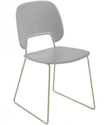 Jídelní židle Traffic-t - Jídelní židle (lak pískový mat, plast sv. šedá)