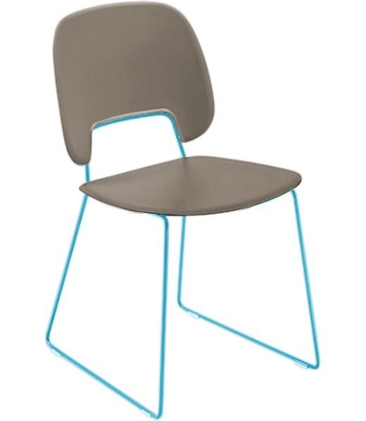Jídelní židle Traffic-t - Jídelní židle (lak tyrkysový mat, eko kůže taupe)