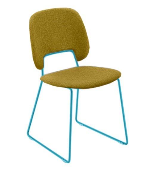 Jídelní židle Traffic-t - Jídelní židle (lak tyrkysový mat, látka hořčicová)
