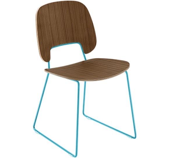Jídelní židle Traffic-t - Jídelní židle (lak tyrkysový mat, ořech)