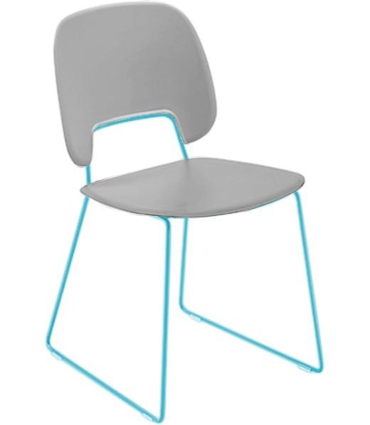 Jídelní židle Traffic-t - Jídelní židle (lak tyrkysový mat, plast sv. šedá)