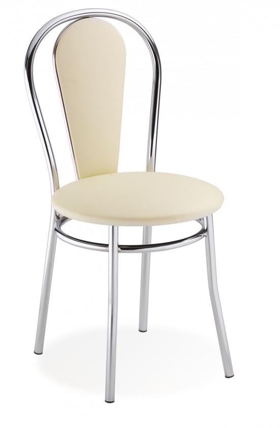 Jídelní židle Tulipan Plus (krémová, chrom)