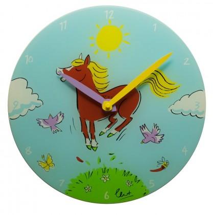 Jump for Joy - hodiny, dětské nástěnné, kulaté (sklo, barevné)