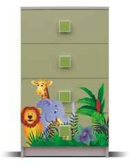 Junior - Komoda, džungle 9 (bříza/zelená)