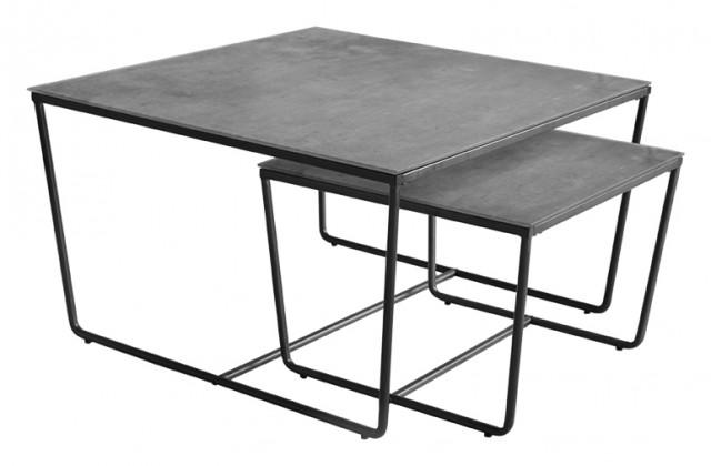 Kamenné konferenční stolky Konferenční stolek Stella - set 2 ks, stohovatelné (černá/šedá)